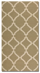 Khaki woven rug with ivory details