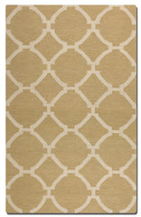 Wheat colored woven rug with ivory details