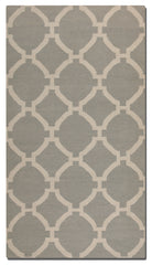 Grey woven rug with ivory details