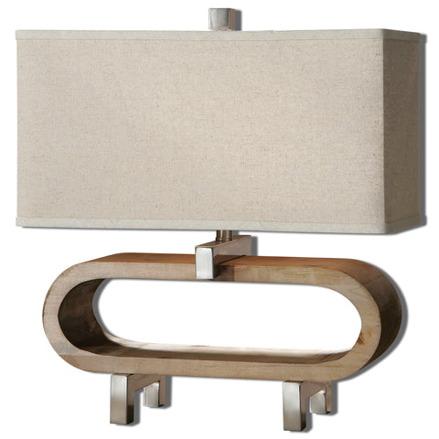 Lightly stained wood base accented with polished chrome plated details. The rectangle shade is an oatmeal linen fabric.