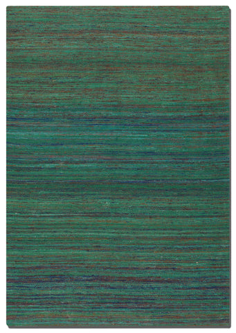 Hand woven viscose rug in over dyed shades of green, blue, burnt orange, and deep red.