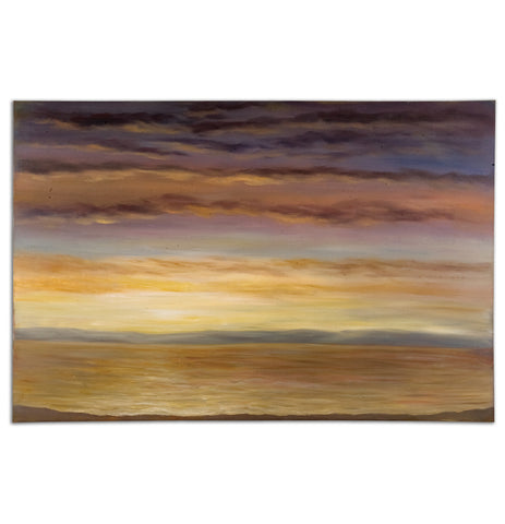 Painting of a sunset over a prarie