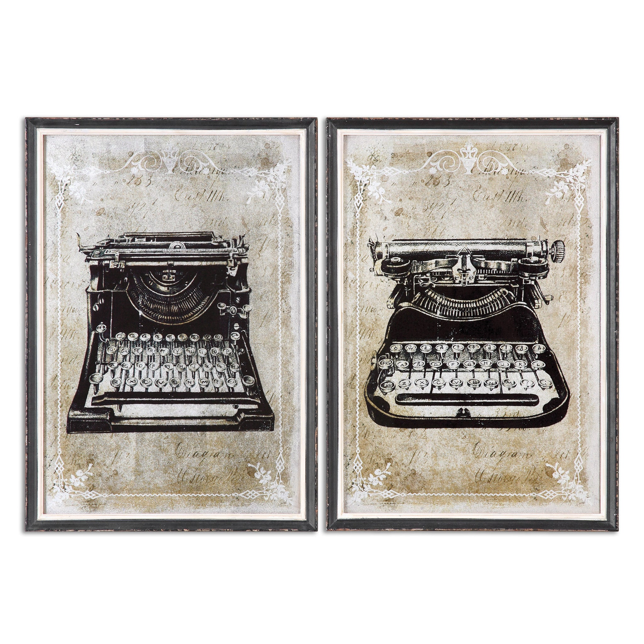 Set of 2 prints of vintage typewriters