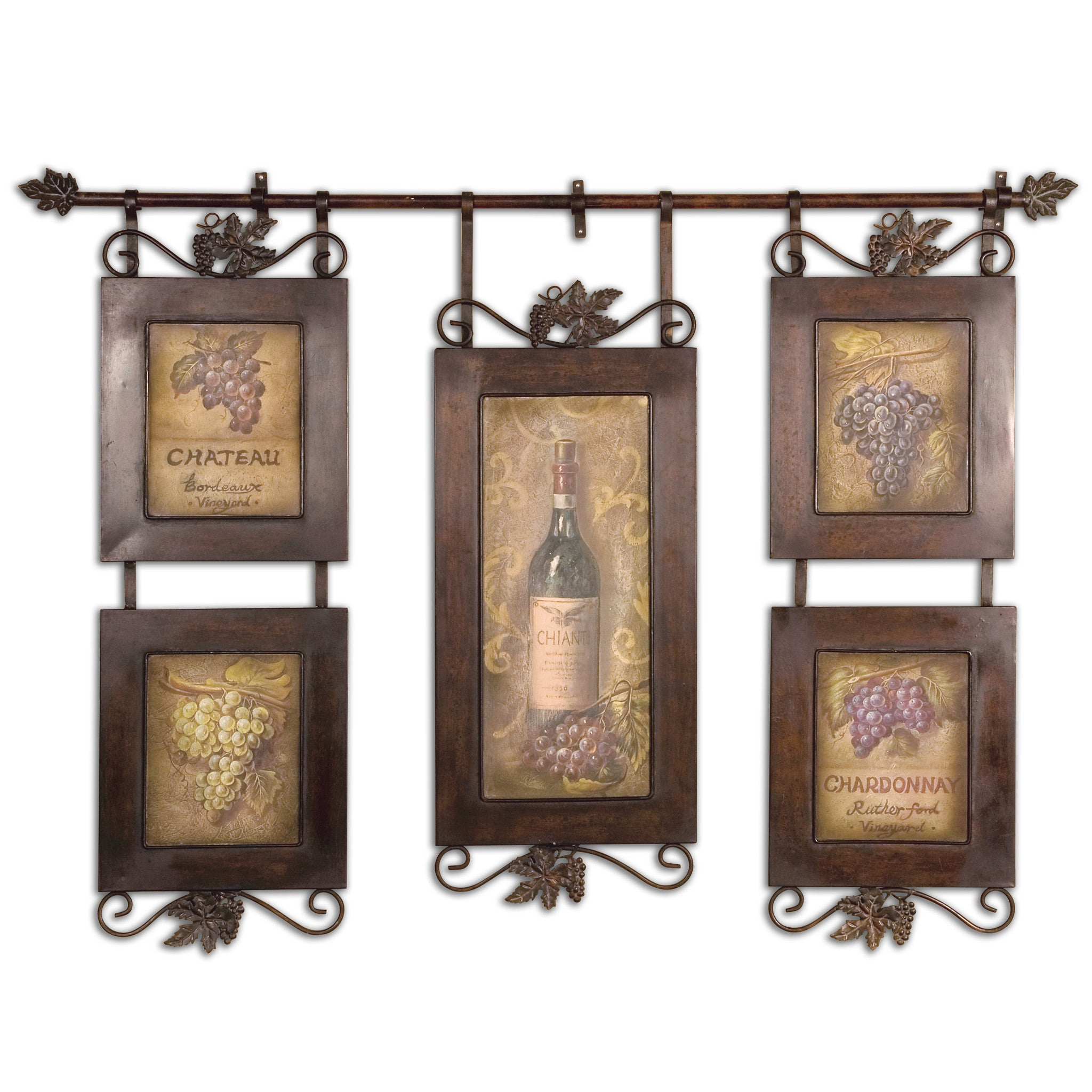 Bronze curtain rod supports collection of 5 paintings of wine and grapes