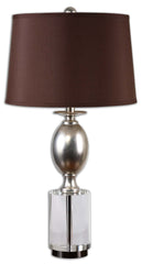 This lamp has an antiqued silver leaf finish with a chunky crystal foot. The round, tapered hardback shade is a silken chocolate bronze fabric with slight slubbing.
