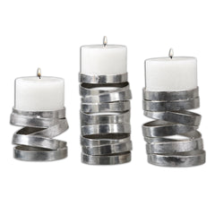 Set of 3 silver candle holders