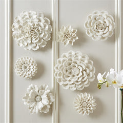 White Flower Porcelain Wall Sculpture Set of 7