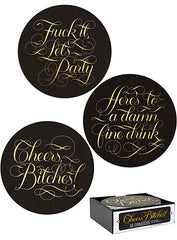 Cheers Bitches!  Coasters set of 15