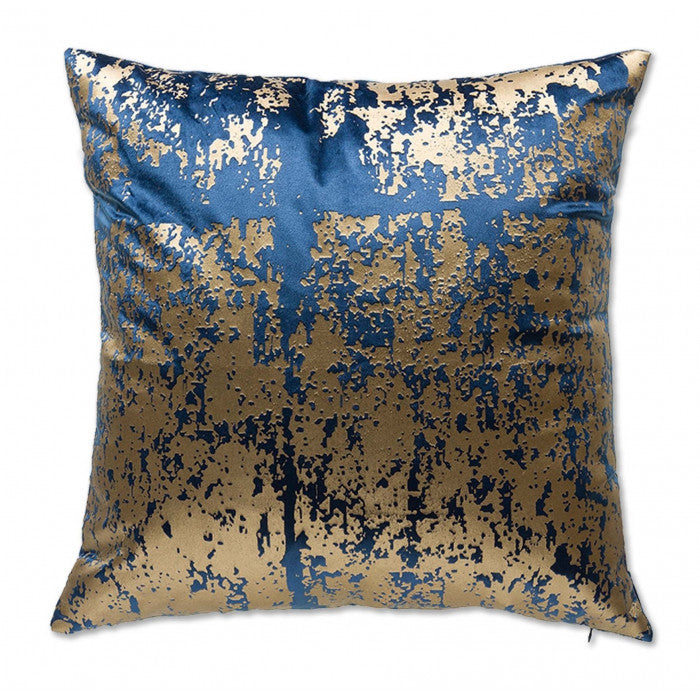 Navy Velvet Pillow with Gold Abstract