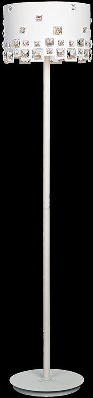 Pearl white floor lamp with square crystals