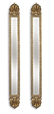 Gold Leaf Decorative Mirrors Set of 2