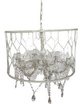 Caged Drum Crystal Beaded Chandelier