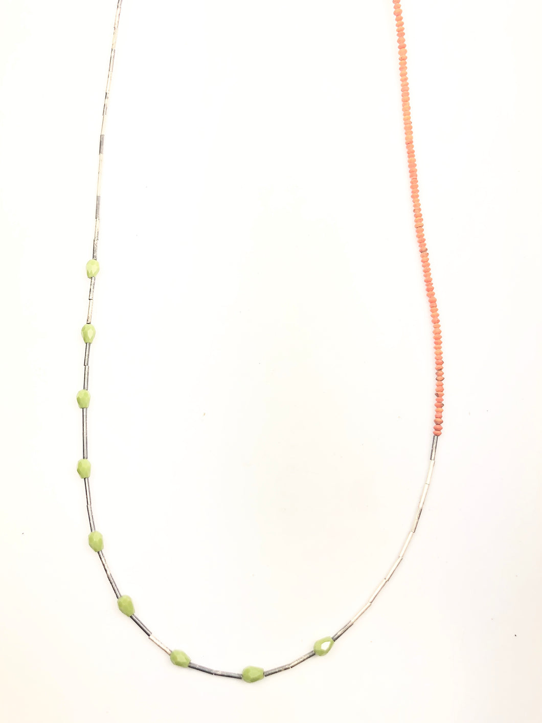 Layering Coral and Green Quartz Necklace