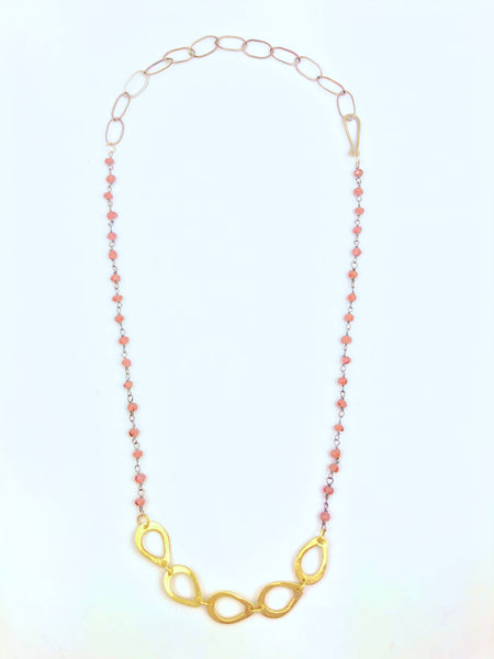 Cutout Brass Teardrops with Garnet Necklace
