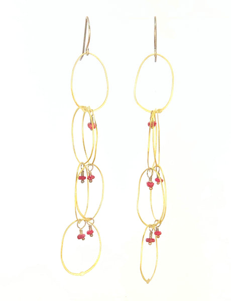 Fine Circle Dangle Brass with Ruby Earrings