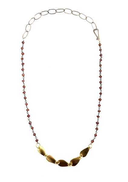 Petite Brass Teardrops and Garnet Necklace