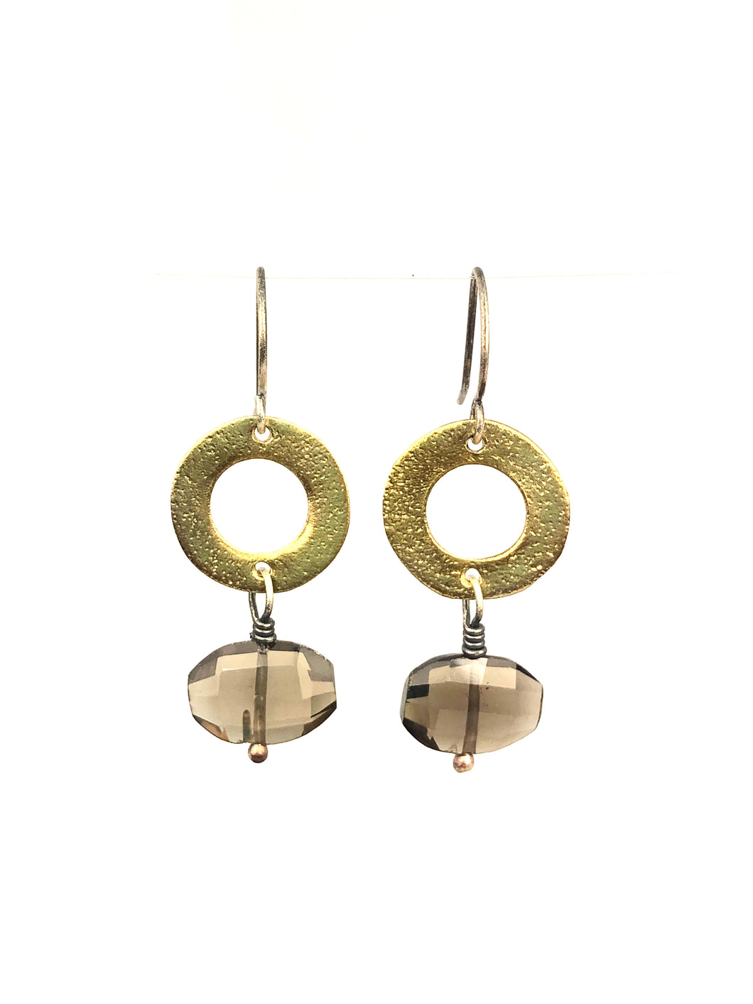 Smokey Quartz Brass Circle Earrings