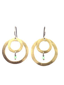 Double Circle Brass Chrysoprase Earrings