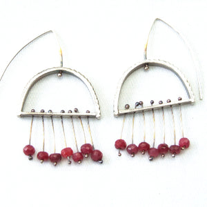 Sterling Silver & Ruby Arch Earrings