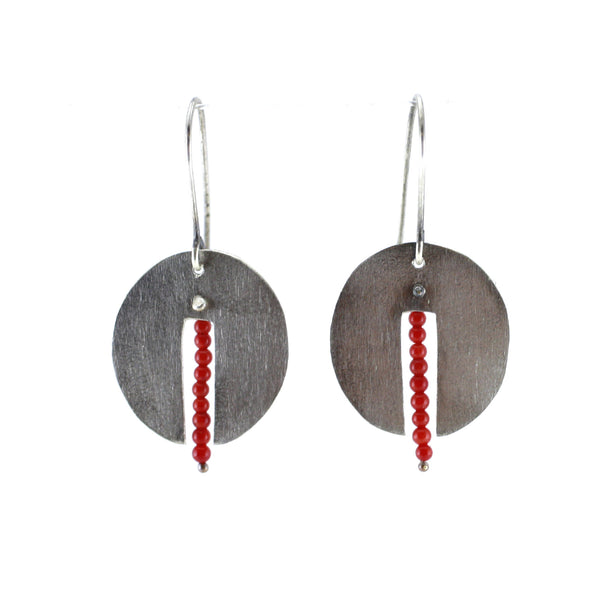 Sterling Silver & Coral Semi Oval Drop Earrings