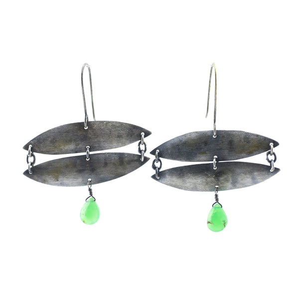 Sterling Silver & Chrysophrase Wide Leaf Drop Earrings