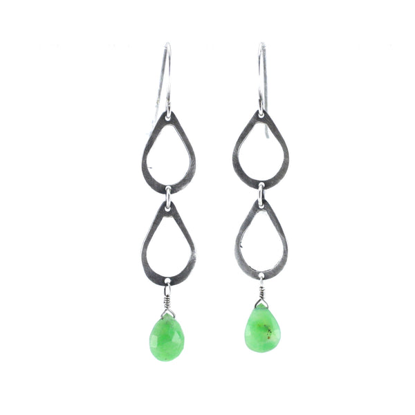 Sterling Silver & Chrysophrase Double Drop Earrings
