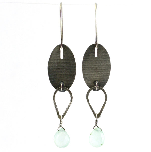 Sterling Silver & Chalcedony Oval Linked Teardrop Earrings