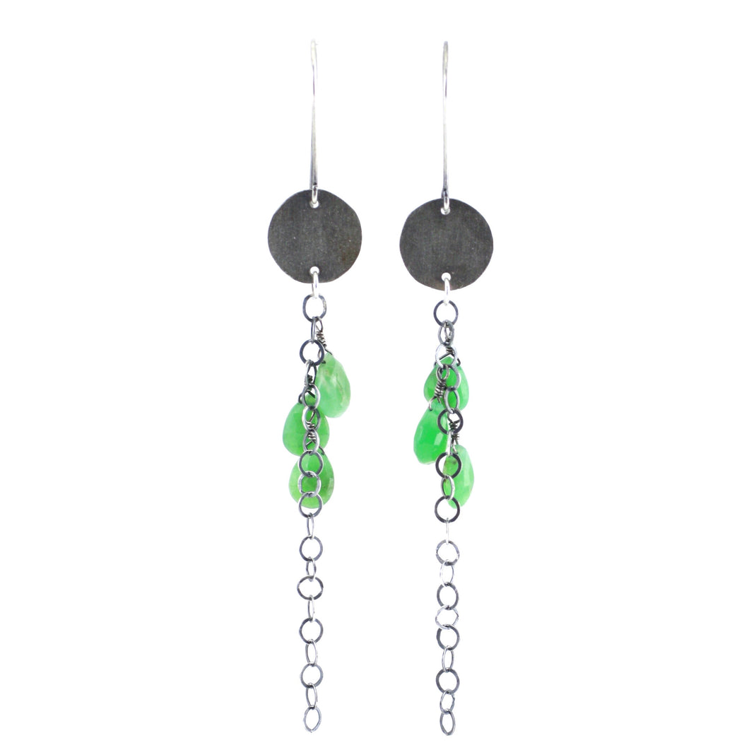 Sterling Silver & Chrysophrase Brushed Circle Chain Drop Earrings