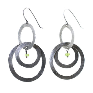 Sterling Silver & Peridot Hammered 2 Tier Hoop Earrings