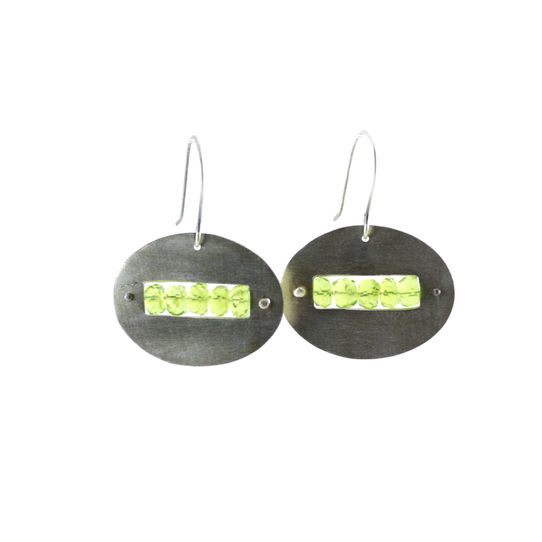 Sterling Silver & Peridot Oval Cut Out Earrings