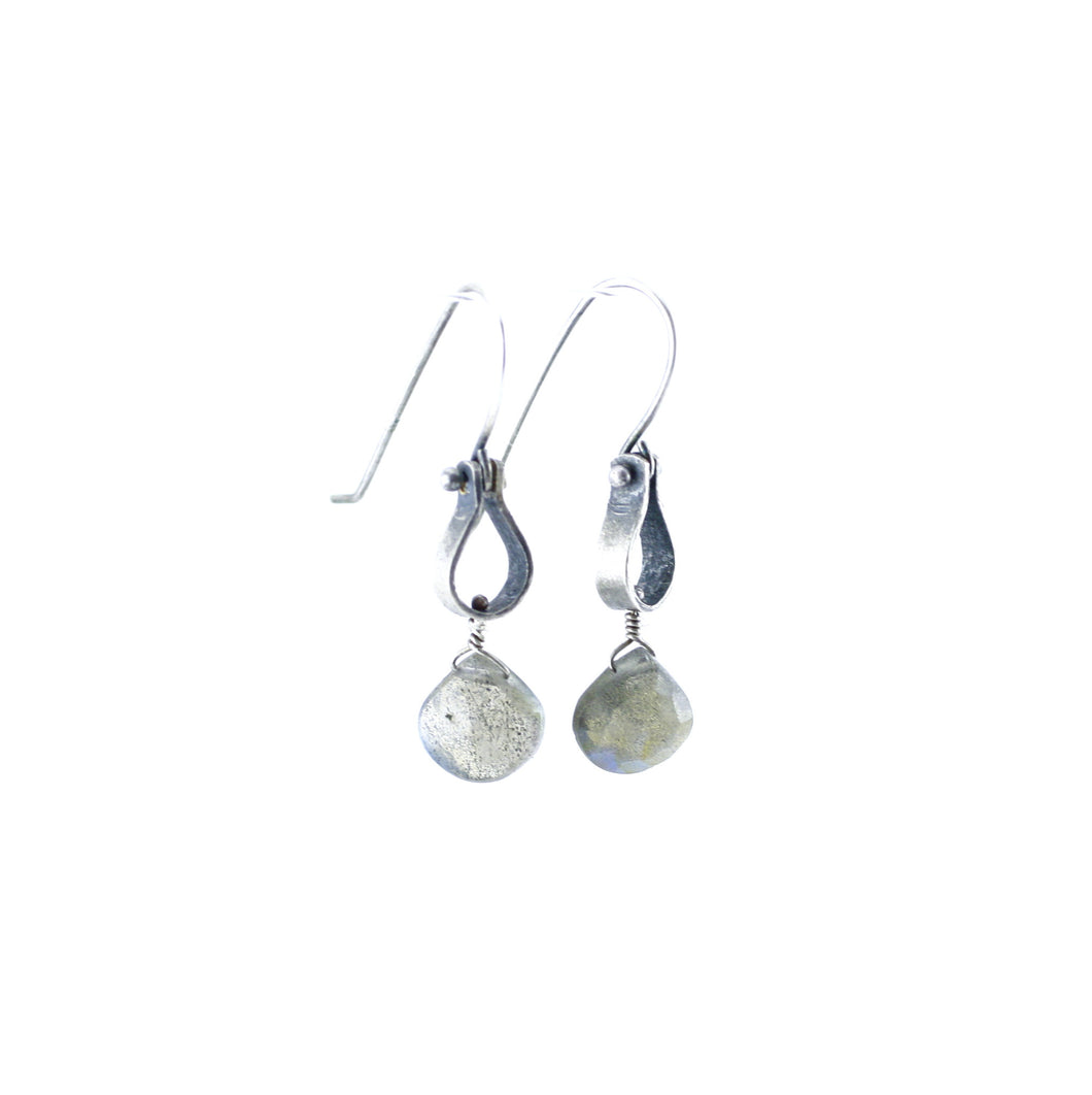 Sterling Silver & Labradorite Single Teardrop Link Earrings