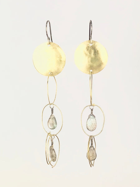 Long Dangle Brass and Labradorite Earrings