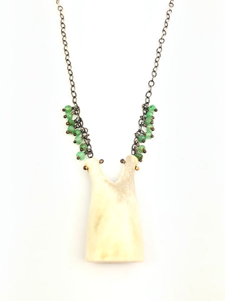 Shed Deer Antler and Chrysoprase Necklace