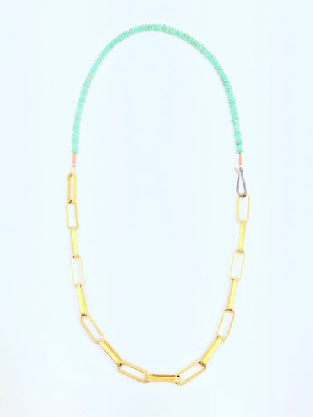 Brass Link and Turquoise Necklace
