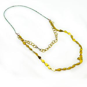 Turquoise Brass Chain Necklace