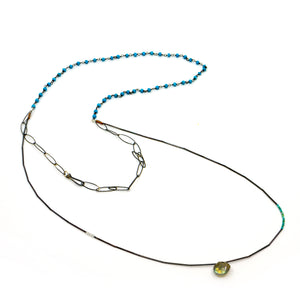 Turquoise Lab Sterling Bead Necklace