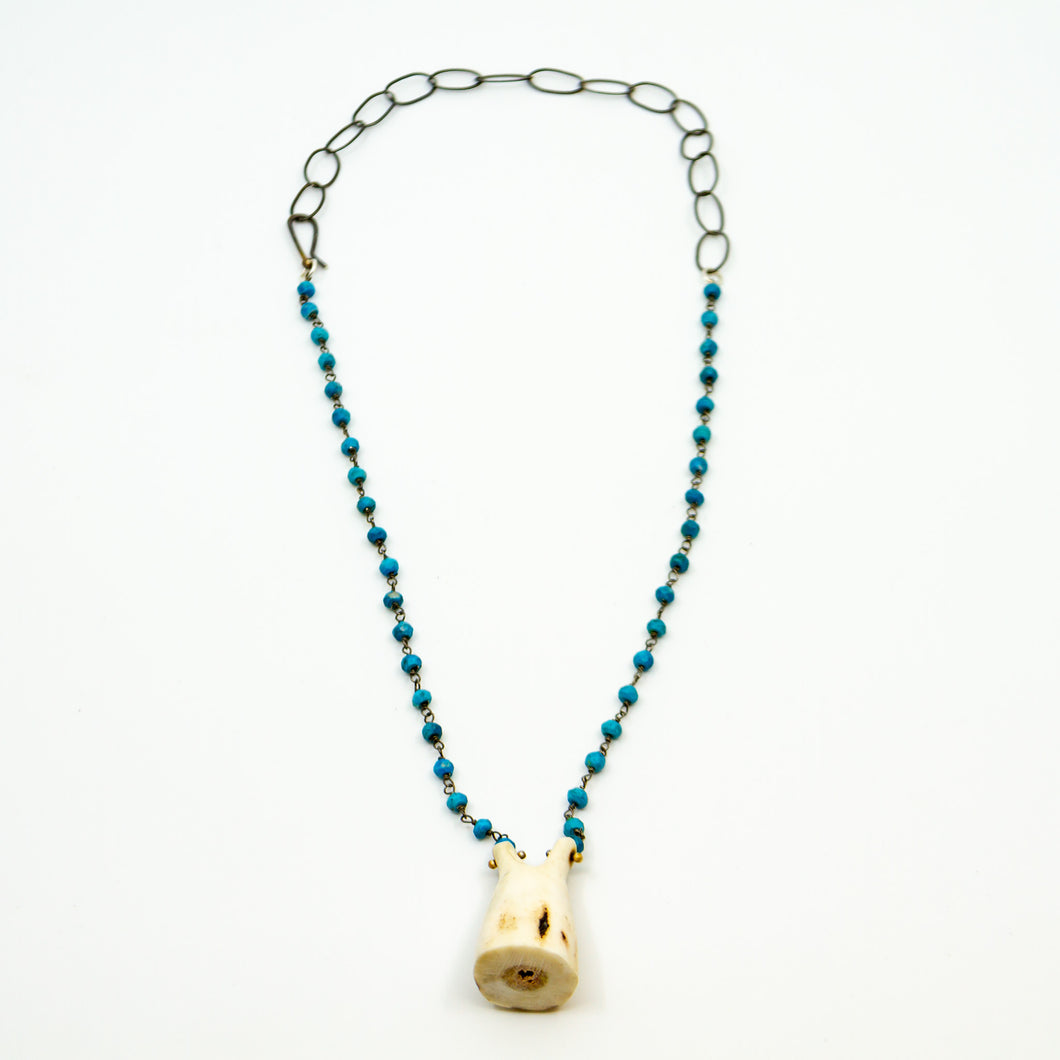 Carved Organic Form Hand Tied Turquoise Necklace