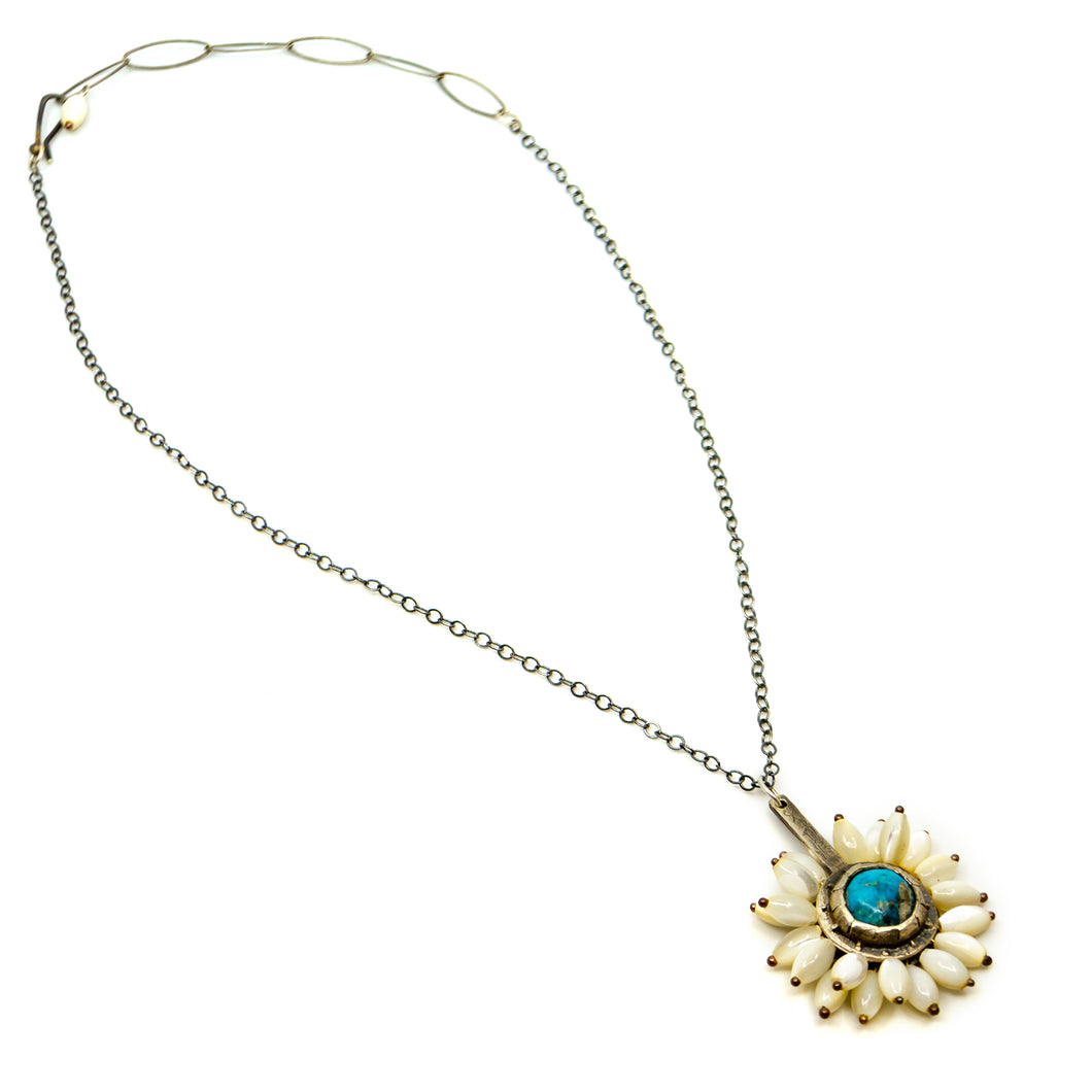 Mother Of Pearl Sleeping Beauty Turquoise Necklace