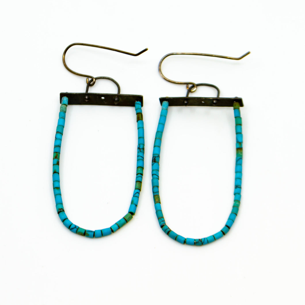 Sterling Silver And Turquoise Bead Earrings