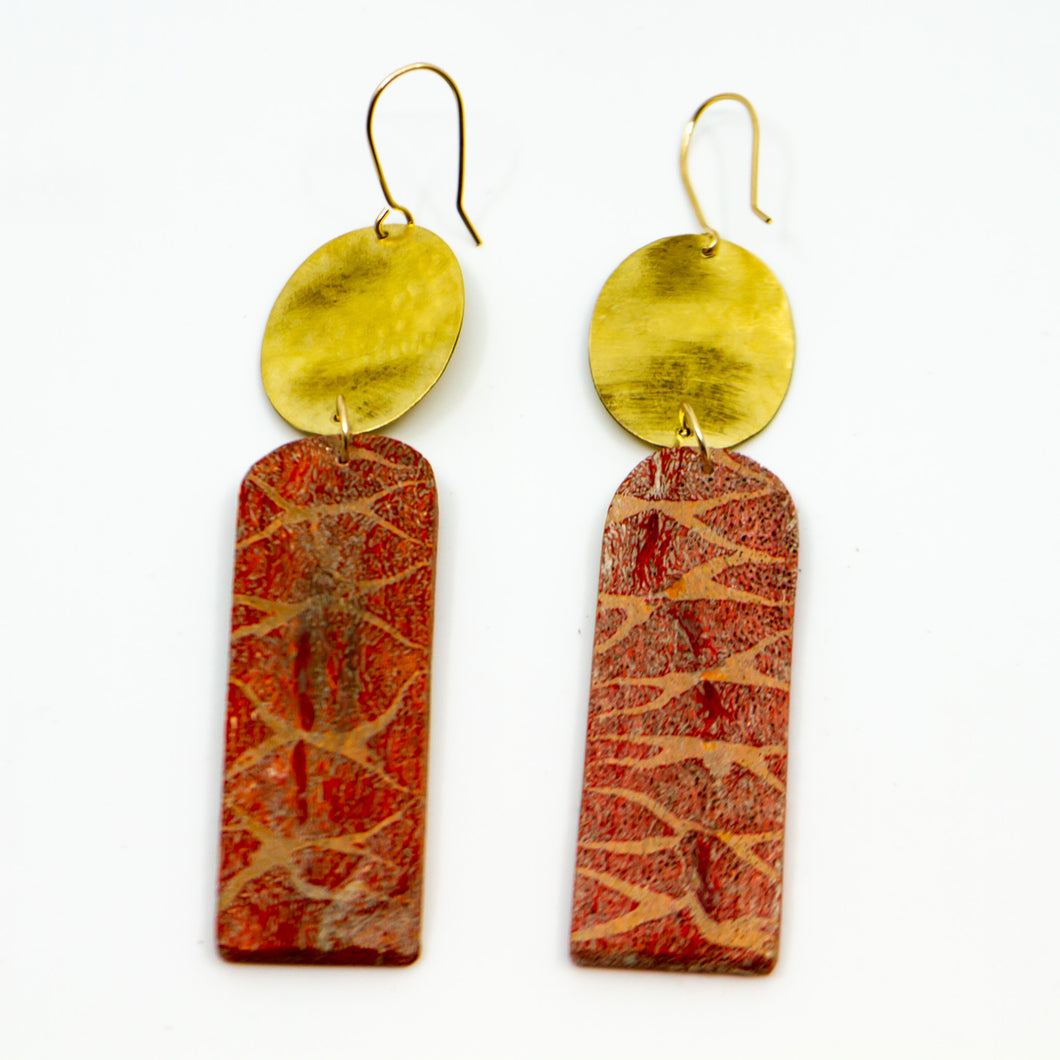 18k Gold Deep Red Sponge Coral Earrings