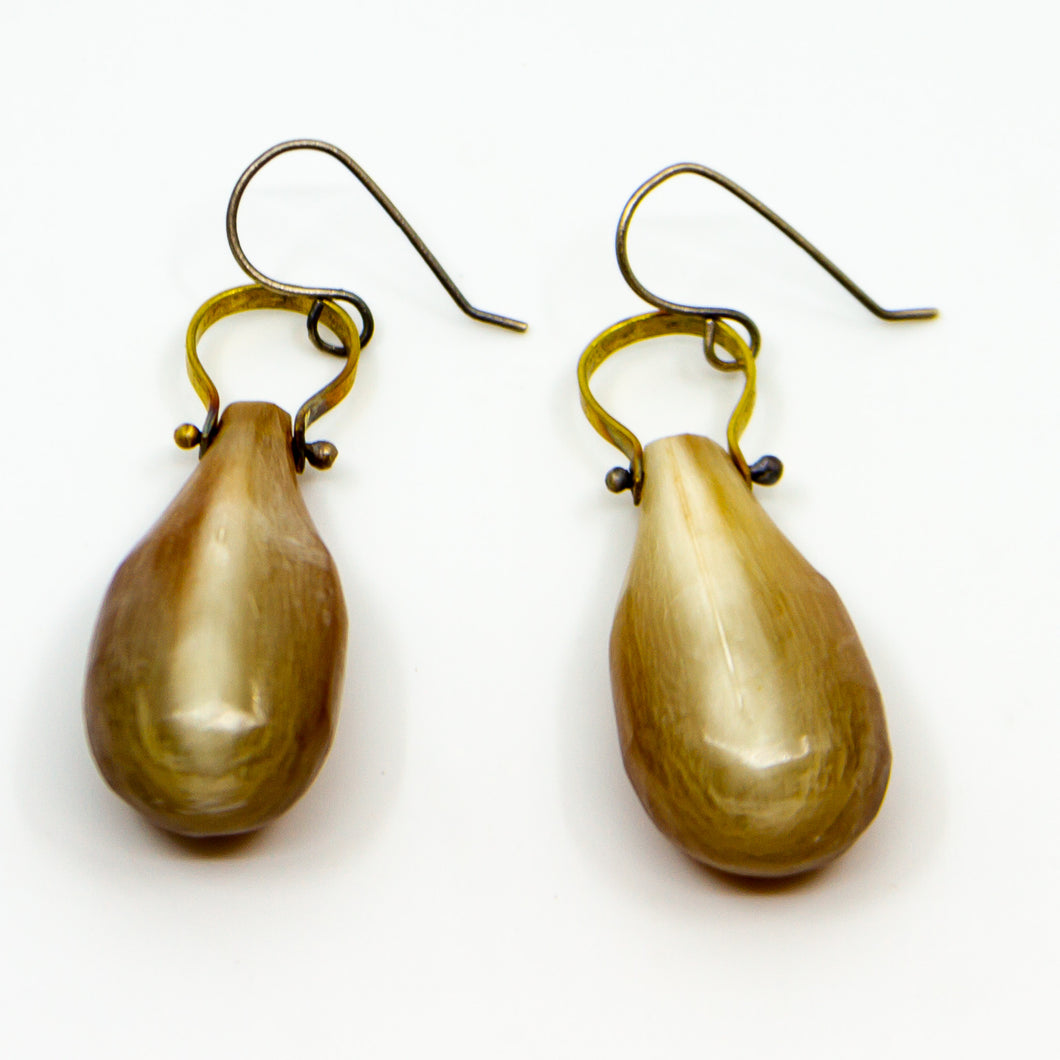 Carved Horn Earrings