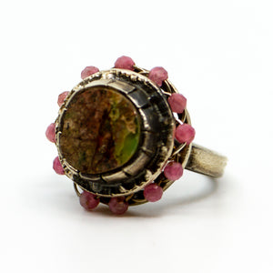 Sterling Ruby And Earth Chrysoprase Ring