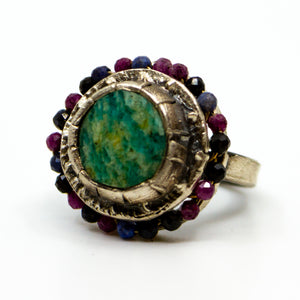 Sterling Amazonite Sapphire Ring