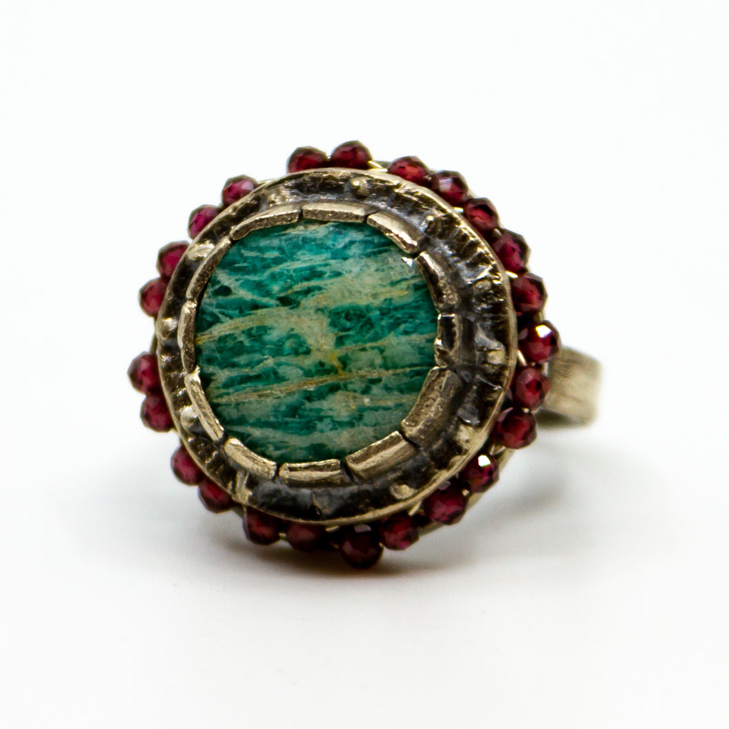 Sterling Amazonite Garnet Ring