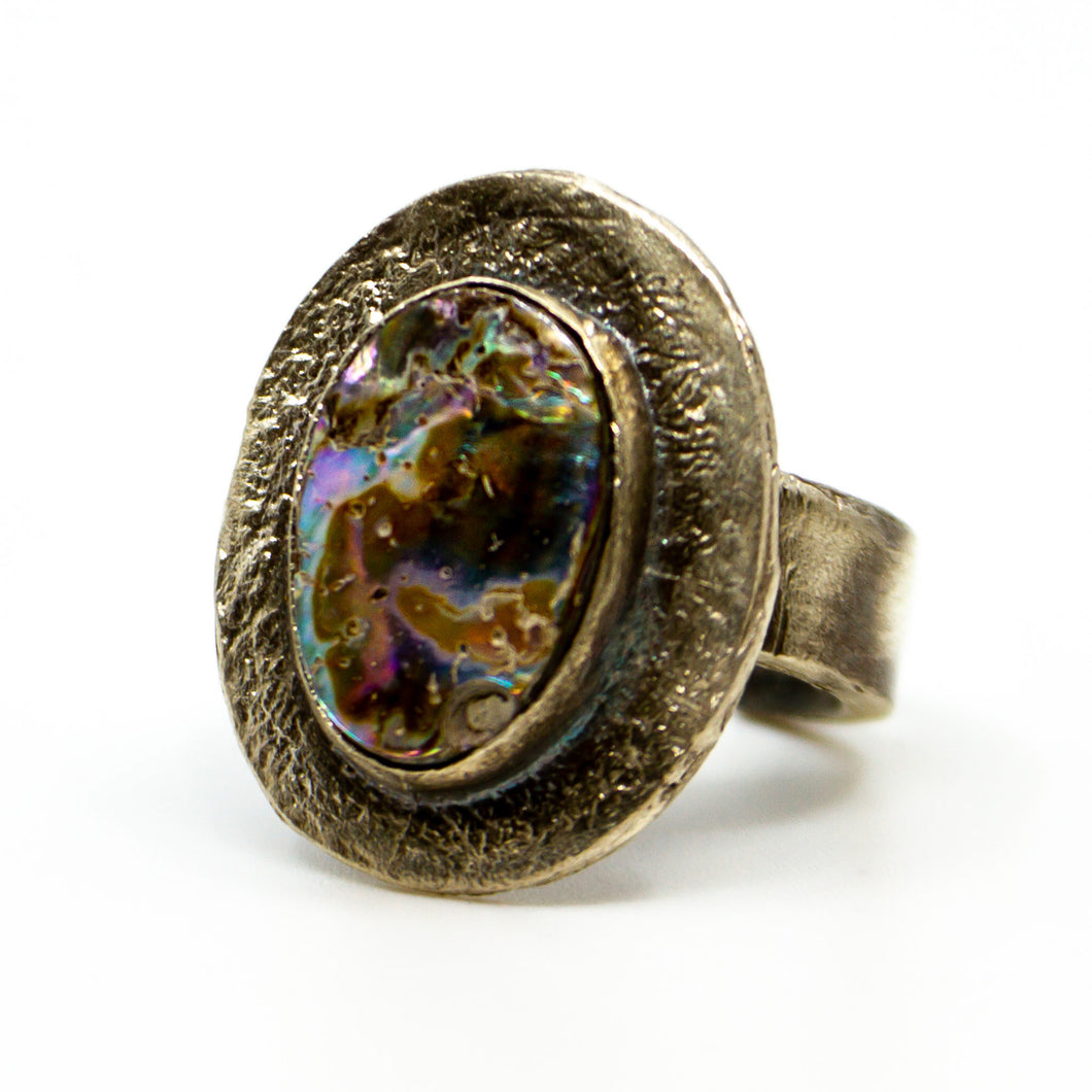 Sterling Silver Red California Abalone ring.