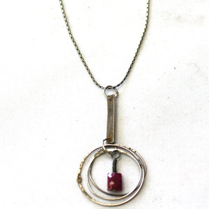 Sterling Silver & Ruby Fused Ringlette Pendant Necklace