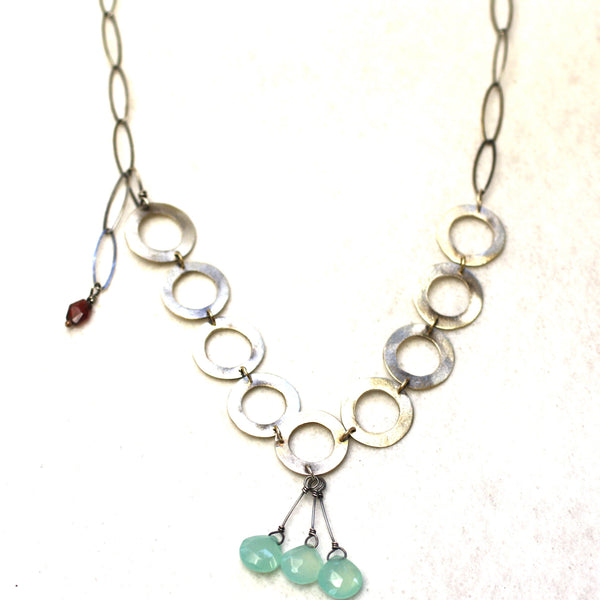 Sterling Silver & Chalcedony Hammered Ring & Chain Necklace
