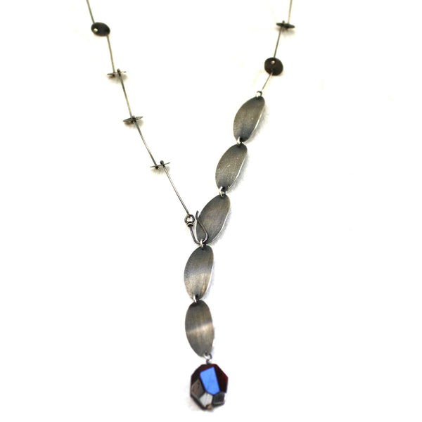 Sterling Silver & Labradorite Cascade Disk & Brushed Oval Link Necklace