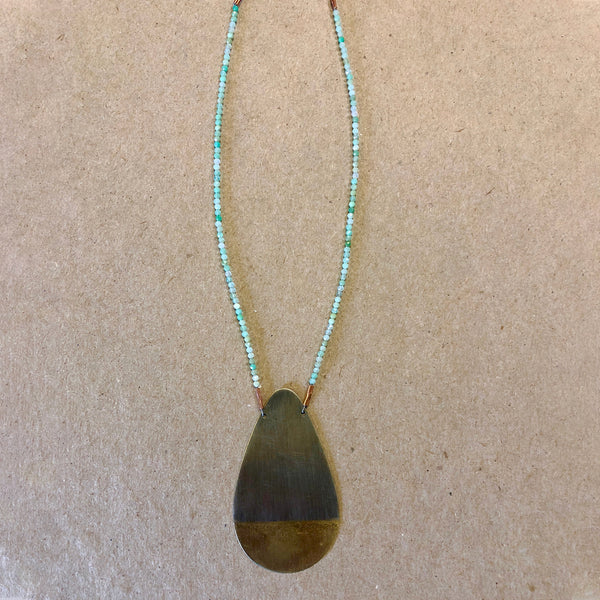 Silver, Brass and Chrysoprase Necklace
