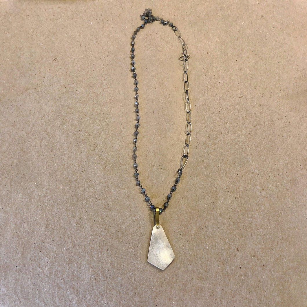 Antler Pendant with Labradorite Beads necklace